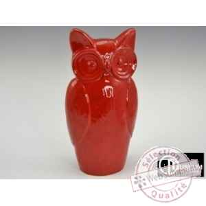 statue carat hiboux rouge 39cm Edelweiss -B8173