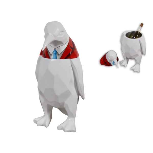 Statue funny pingouin seau a glace Edelweiss -C9266