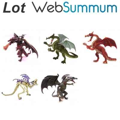 Lot de 5 dragons Plastoy -LWS-134