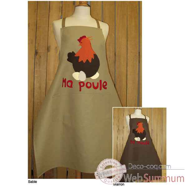 Tablier de cuisine enfant Alma Mater ma poule application -tabe2383sable