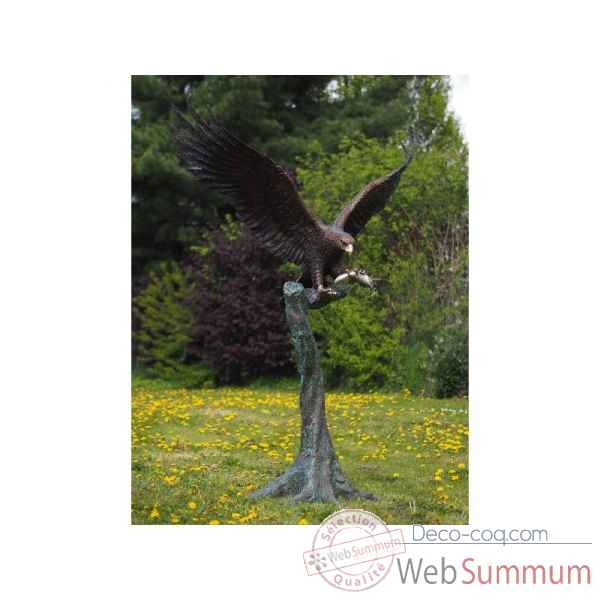 Sculpture grand aigle sur tronc d\\\'arbre en bronze thermobrass -b1243